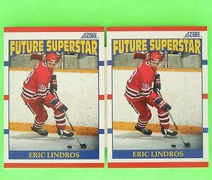 Lot-of-2-ERIC-LINDROS-1990-91-ROOKIEL-FUTURE-SUPER-STAR-Score-440-Flyers