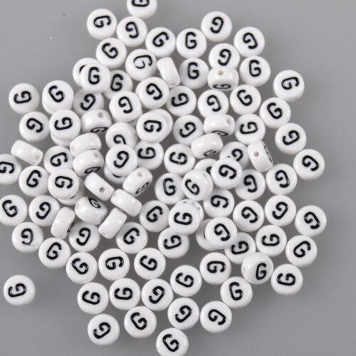 "100//200//500//1000Pcs Unisex Alphabet /""A-Z /"" White Beads Black Letter DIY Crafts"