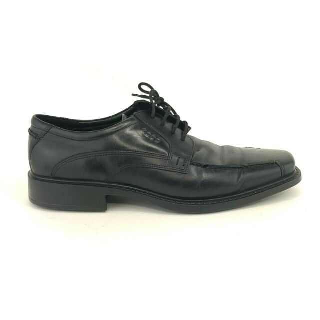 Ecco Mens Size 44 Black Leather Lace Up Oxford Shoes