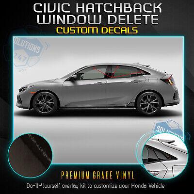 Chrome Delete Blackout KK fit 2016-2021 Civic Hatchback Window Trim Matte Black