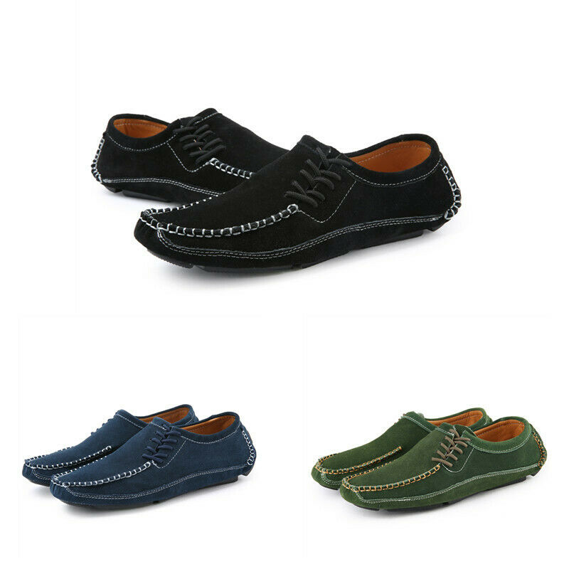 Mens Solid Loafers Pumps Flat Heel Casual Leather Handwork Driving Soft shoes