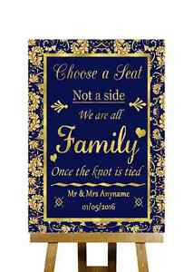 blue and gold no seating plan choose a seat personalised wedding