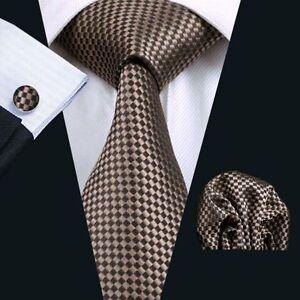 Gold-Braun-Kariert-Seide-Krawatte-Set-Einstecktuch-Knoepfe-Breit-Hochzeit-K332
