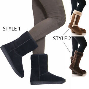 Ladies-Womens-Winter-Warm-Fur-Casual-Snow-Comfy-Mid-Calf-Fashion-Boots-Size-3-8