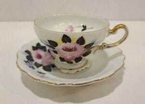 Porcelain-Demitasse-Cup-Coffee-Tea-Hand-Painted-Saucer-Lefton-Occupied-Japan