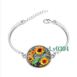 Monet Sunflowers Verre Cabochon Tibet Silver Bangle Bracelets Wholesale
