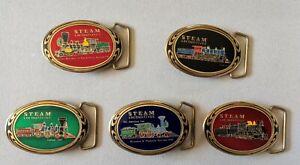 Steam-Locomotives-Train-Railroad-Solid-Brass-Vintage-1988-JHL-Belt-Buckle-Lot