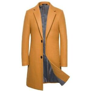 British Mens Long Slim Fit Wool Blend Trench Coats Single-breasted Lapel Warm L