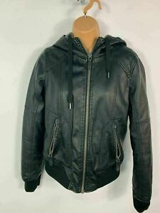 WOMENS GARAGE BLACK CASUAL FAUX LEATHER AVIATOR BOMBER JACKET COAT SIZE SMALL