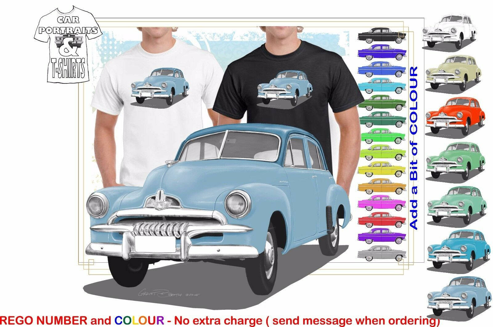 CLASSIC 53-55 FJ HOLDEN SEDAN ILLUSTRATED T-SHIRT MUSCLE RETRO SPORTS