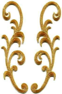 Gold trim fringe boho art deco sew embroidered appliques iron-on patches S-973