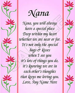 Special nana personalized print poem memory birthday for What to get grandma for mother s day