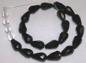 Full Strand  15Inches\u300132pcs Per Strand NEW Black Onyx Bead Tear Drop Faceted 8X12mm