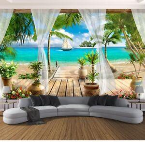New 3d Wallpaper Mural Custom Balcony Sandy Beach Sea View Wall Home