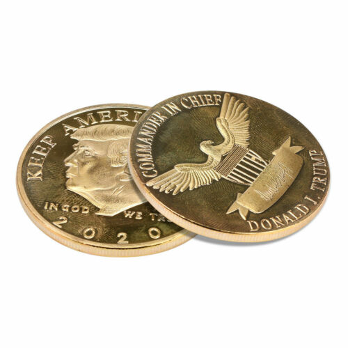 MAGA! SET OF TWO! 2020 President Donald Trump 24k Gold Plated EAGLE Coins