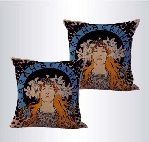 set of 2 cheap cute pillo Alphonse Mucha Sarah Bernhardt cushion cover