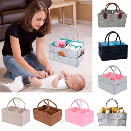 NEW Baby Diaper Organizer Felt Changing Nappy Kids Storage Carrier Bag Grey