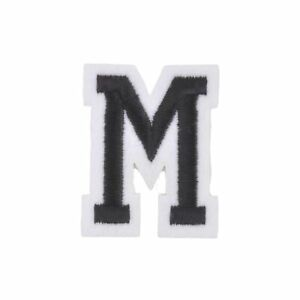 Varsity-Letter-M-Iron-On-Patch-Badge-Applique-Transfer-A-Z-Alphabet-Black-White