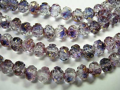 25  5x6mm Czech Glass Amethyst Copper Luster Rosebud beads