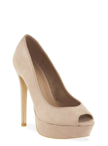 Womens nude cream faux suede peep toe platform high heel shoes in sizes 4 to 8