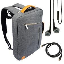 "Gray Backpack Messenger Bag for HP Pavilion 17-f053us 17.3"" Laptop +Earbud+Cable"