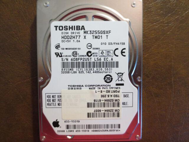 Toshiba MK3255GSXF (HDD2H77 X TW01 T) 010 D3/FH415B Apple#655-1551D 320gb Sata