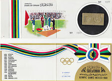 """Oman 1968 Summer Olympic, Mexico 1968, MNH, perf., stamp+folder """"Gt. Britain"""""""