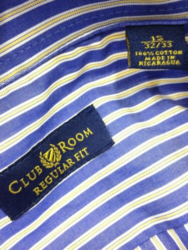 $85 CLUB ROOM Men REGULAR FIT BLUE YELLOW STRIPE CASUAL DRESS SHIRT 15 32//33 M