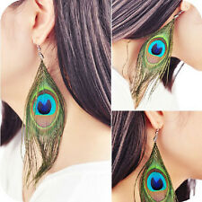 Big Pair Of Real Dangly/Drop Peacock Feather Earrings /Hook Fastening/14cm/Boho