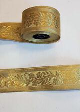 50mm Oro Jacquard Motivo Ricamato Applique NASTRO TAGLIO Decor