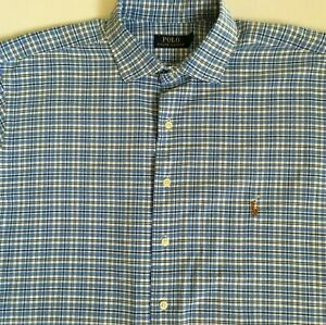 Polo-Ralph-Lauren-Mens-Blue-White-Plaid-Check-L-S-Cotton-Shirt-Size-XLT-Tall