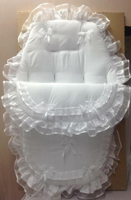 Footmuff 3-in-1  white with voile ribbon trim Baby/'s Cosy Toes