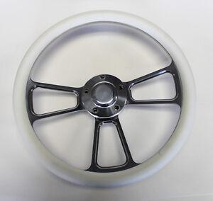 New-Nova-Chevelle-Steering-Wheel-White-Grip-14-034-Shallow-Dish-Billet-Polished