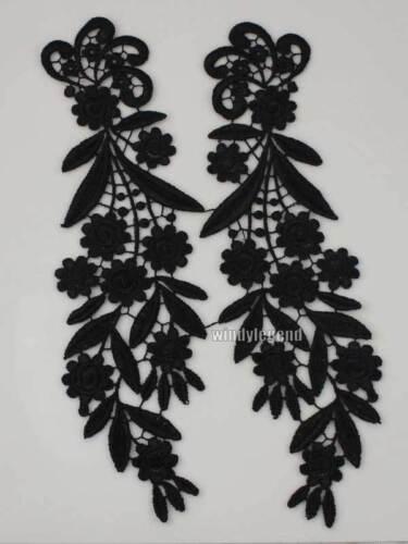 1 Pair Mirror Venise Venice Lace Fabric Black Flower Motif Sewing Craft Applique