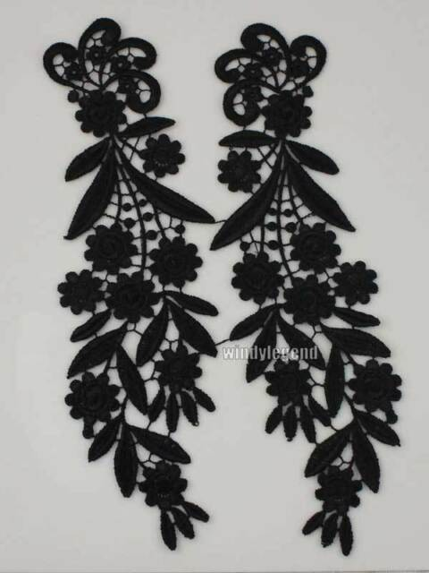 1 Pair Mirror Venise Venice Lace Fabric Black Flower Motif Sewing Craft Applique