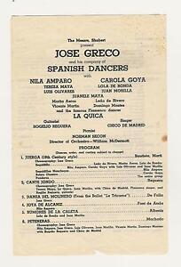 JOSE GRECO Flamenco Spanish Dancers Messrs Shubert Playbill - Playbill program