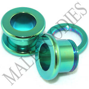 0535-Surgical-Steel-Green-Color-Screw-on-fit-Tunnels-00-Gauge-00G-10mm-Ear-Plugs