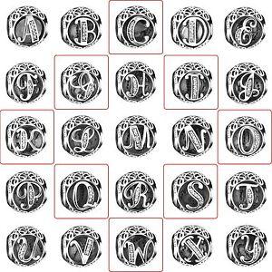 Alphabet-A-Z-Letters-Charms-European-Bead-Fit-925-Silver-sterling-Bracelet-Chain
