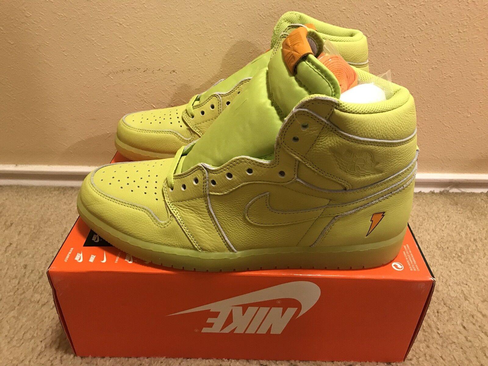 Nike Air Jordan 1 Retro HI OG G8RD Gatorade Homme sz 13 Cyber Lime AJ5997 345