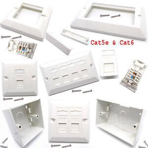 RJ45-Network-Cat5e-Cat6-1-amp-2-Gang-Modular-Face-Plate-Back-Box-Keystone-Jack-Lot