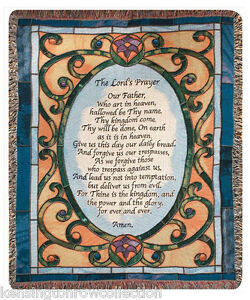 "The Lord's Prayer Tapestry Throw Stain Glass Look 50"" X 60"" Throw Throws"