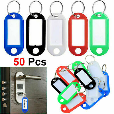 50 x Key Tags with Paper Inserts Split Rings Plastic Colour