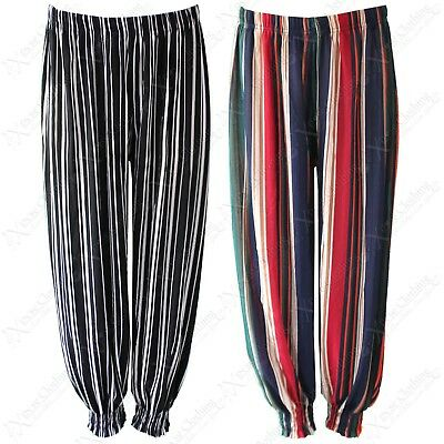 Süß GehäRtet New Ladies Stripe Print Crinkle Culottes Women Crop Trouser 3/4 Harem Look Pants