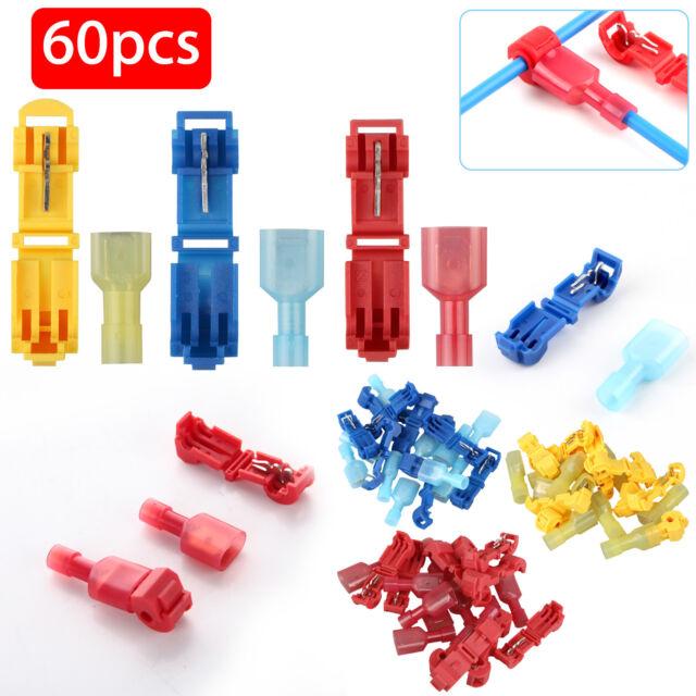 60Pcs T-Taps Wire Connectors Male Quick Splice Terminal 10-22 Gauge 14-16AWG GA