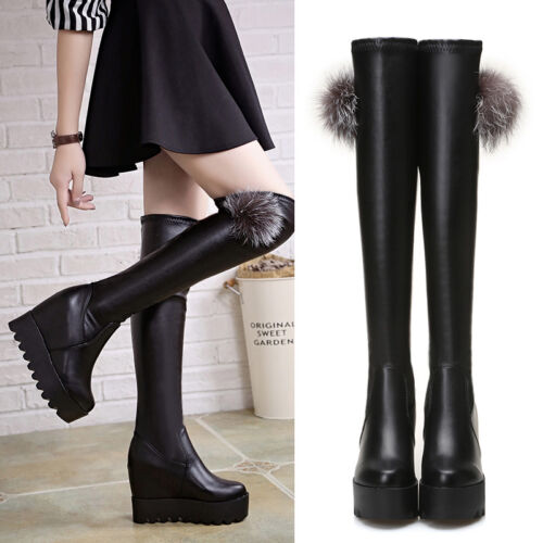 Womens Increase Wedge Platform Very High Heels Over-knees Stretch Boots Hot A866