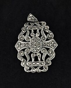 925 Sterling Silver & Marcasite Pendant