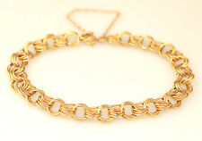 VINTAGE 14K YELLOW GOLD TRIPLE LINK CABLE CHARM BRACELET 7 1/4 INCHES 10.7 GRAMS