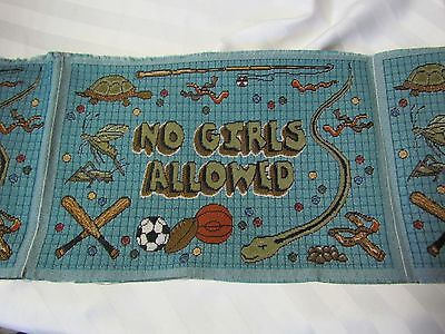 NO GIRLS ALLOWED Boys Room snake sports insect Tapestry Fabric Pillow top Panels