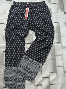 Sheego-Trousers-Baggy-Ladies-Size-42-to-58-Black-Patterned-Elastic-815-New
