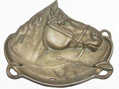 04f21 Antik Schale / Ablageschale Skulptur -führung Pferd Reitsport Aus Bronze